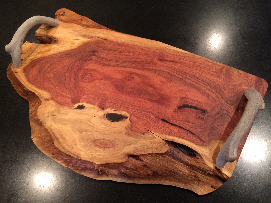 antler handles on mesquite serving tray