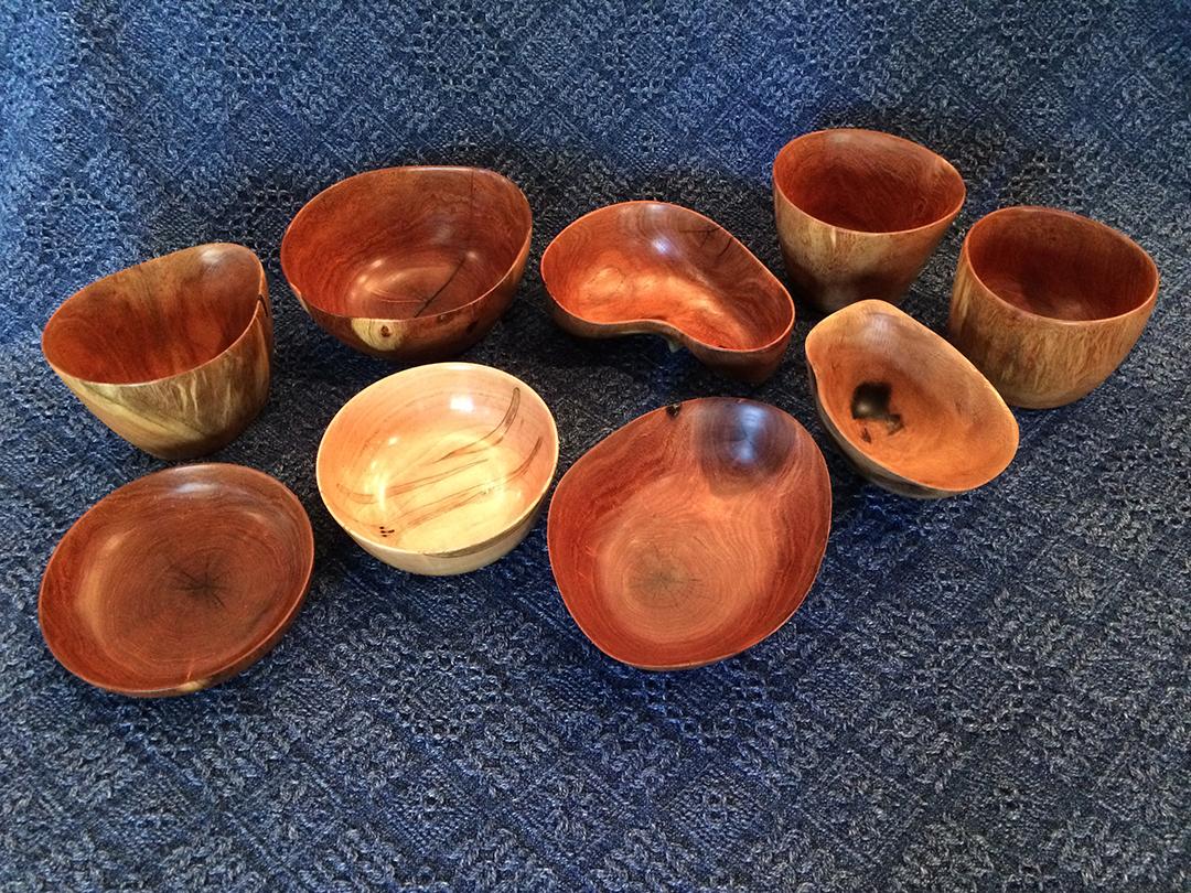 assorted wood bowls