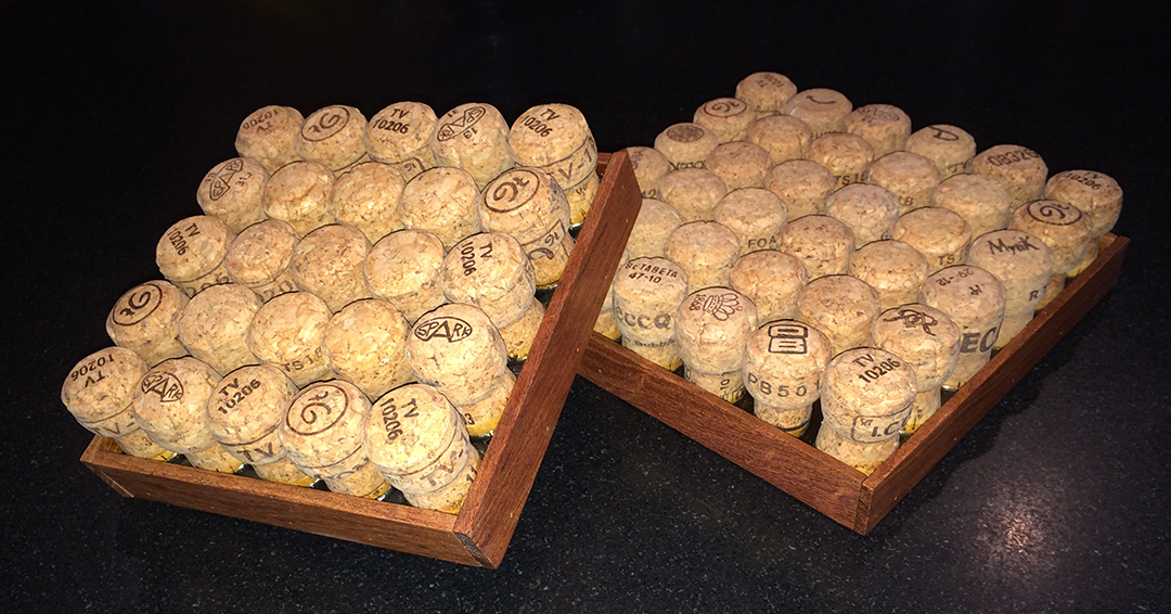 champagne cork wooden trivets