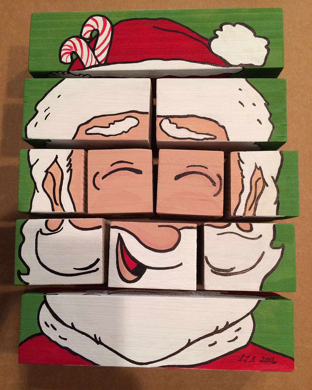 changeable santa wood puzzle