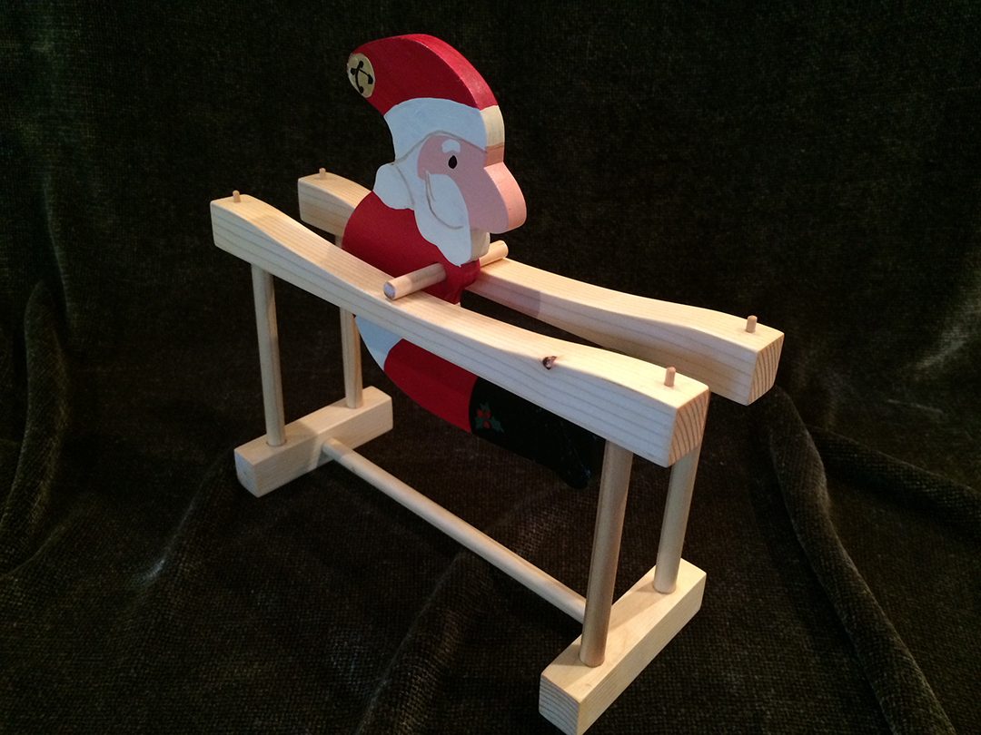kinetic santa wooden toy at angle