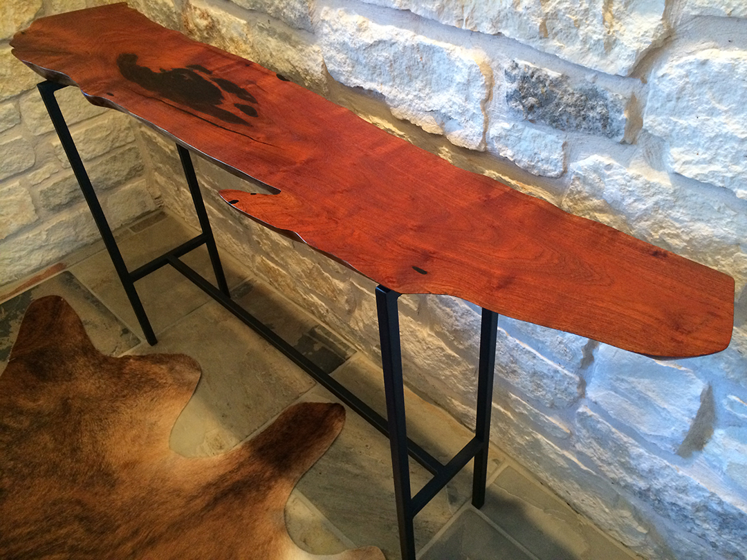 mesquite console table with black epoxy from top