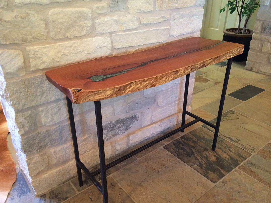 mesquite console table with turquoise inlay on angle
