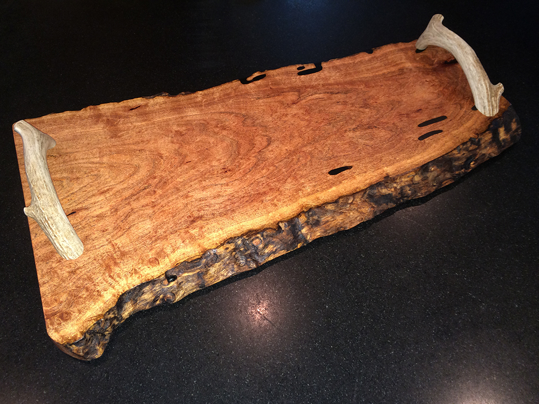mesquite serving tray with antler handles