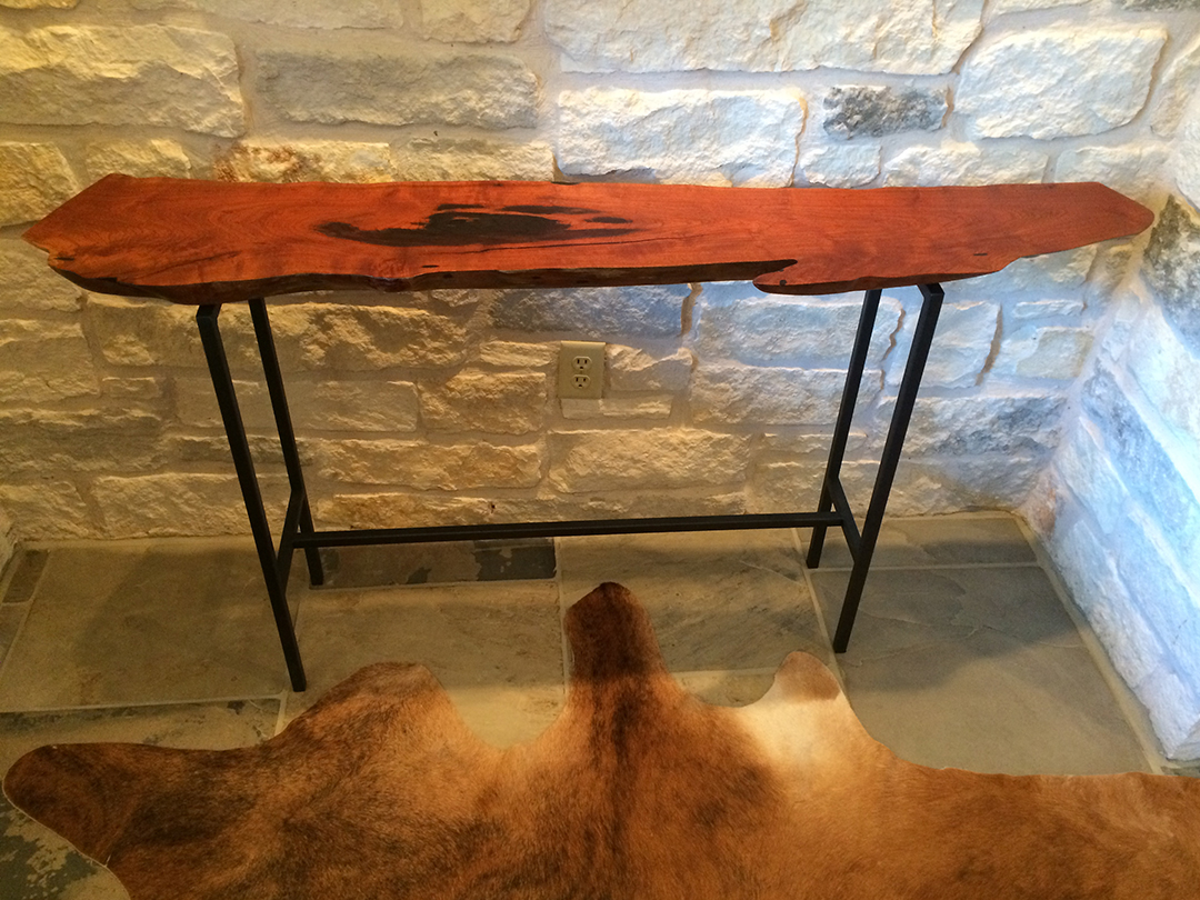 mesquite wood console table with metal base
