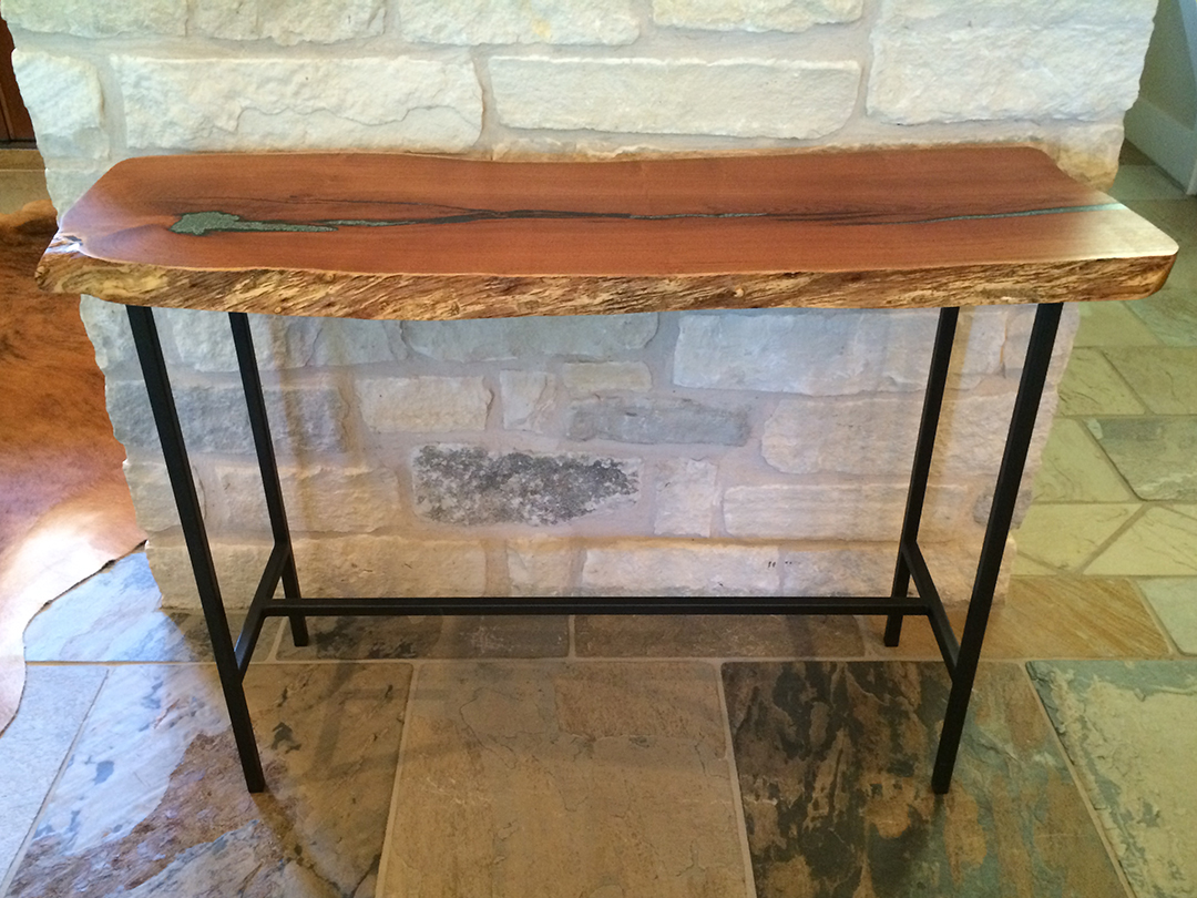 mesquite wood console table with metal legs