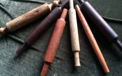 turned rolling pins in assorted woods