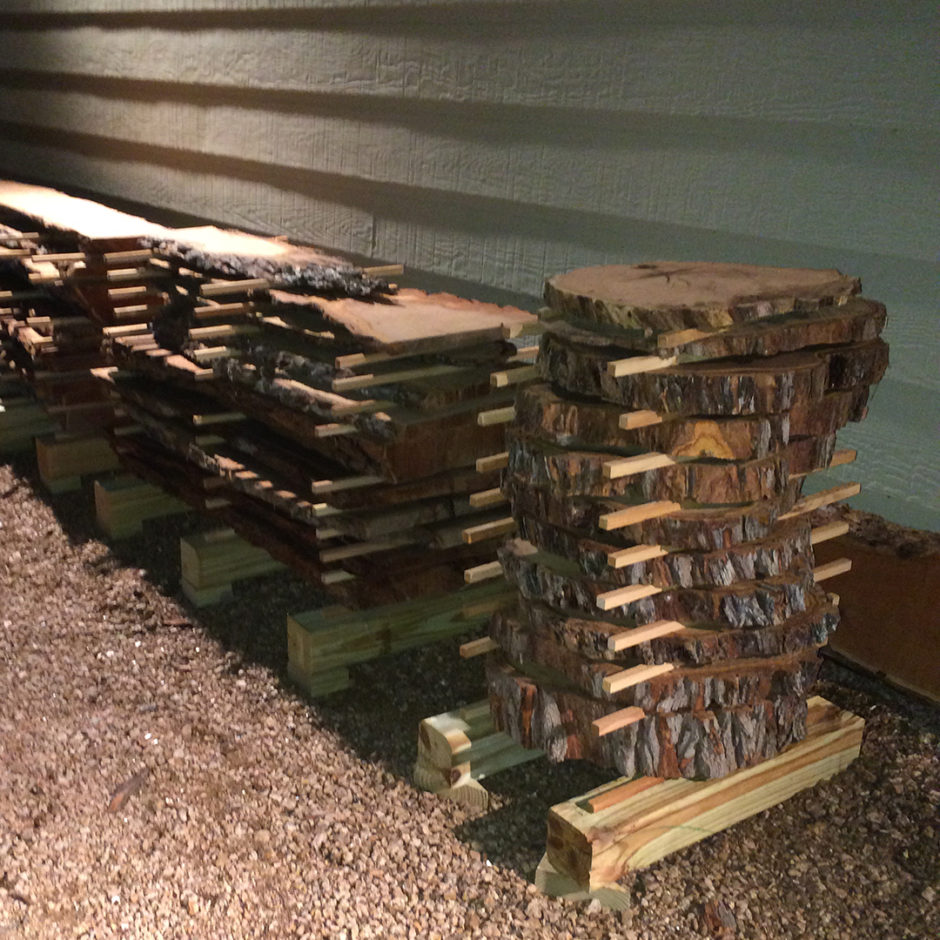 stacked and staged wood pieces