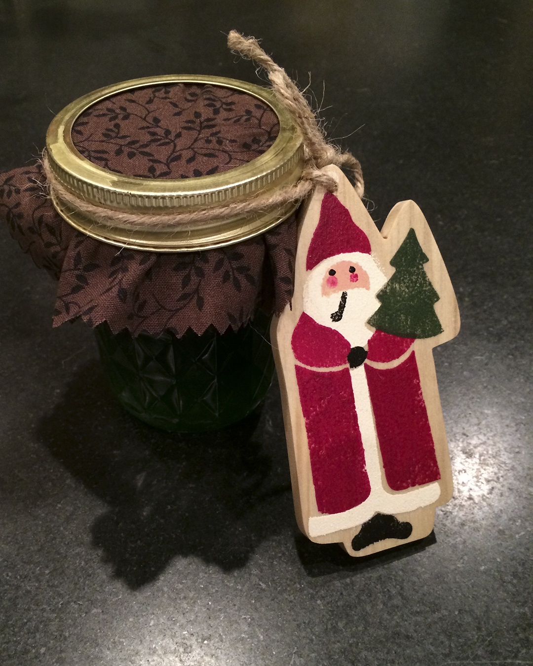 stenciled santa ornament
