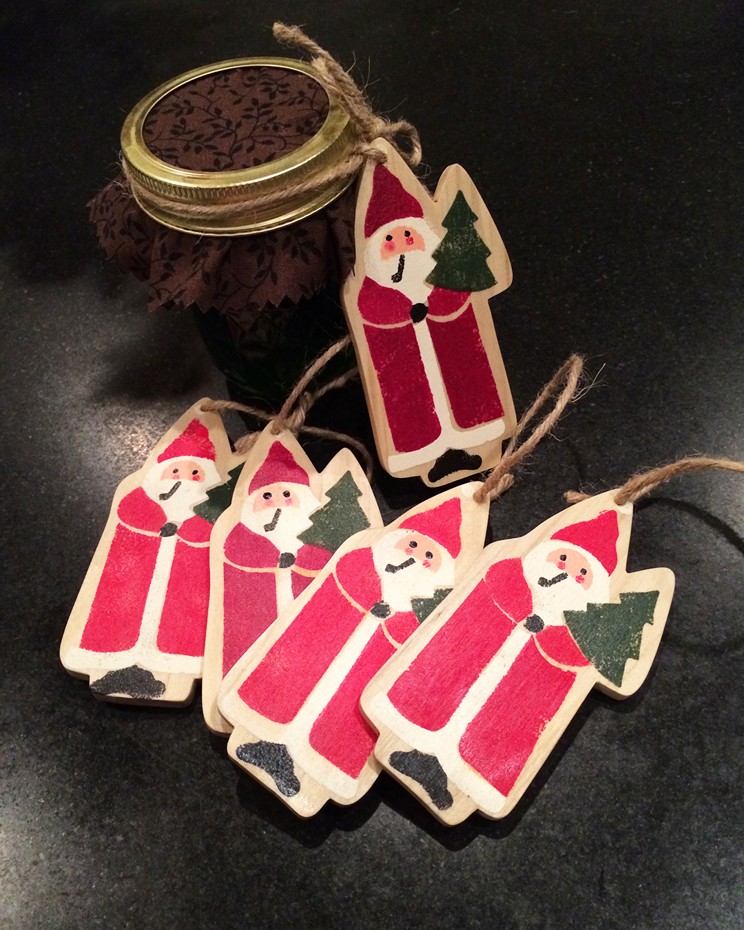 stenciled santa ornaments