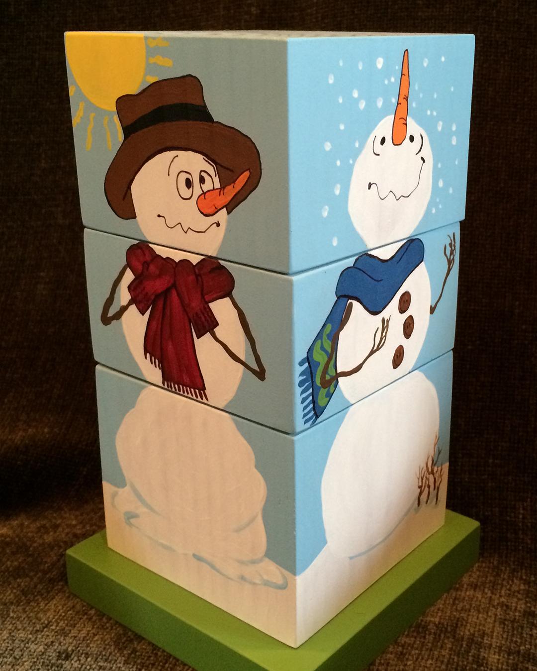 wooden changeable snowmen