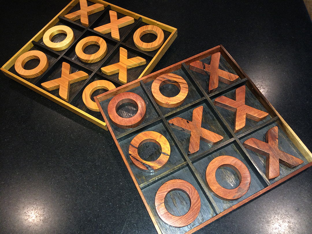 wooden tic-tac-toe game boards