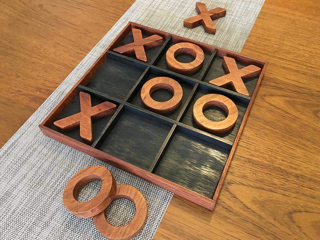 Cherry wood Tic-Tac-Toe game