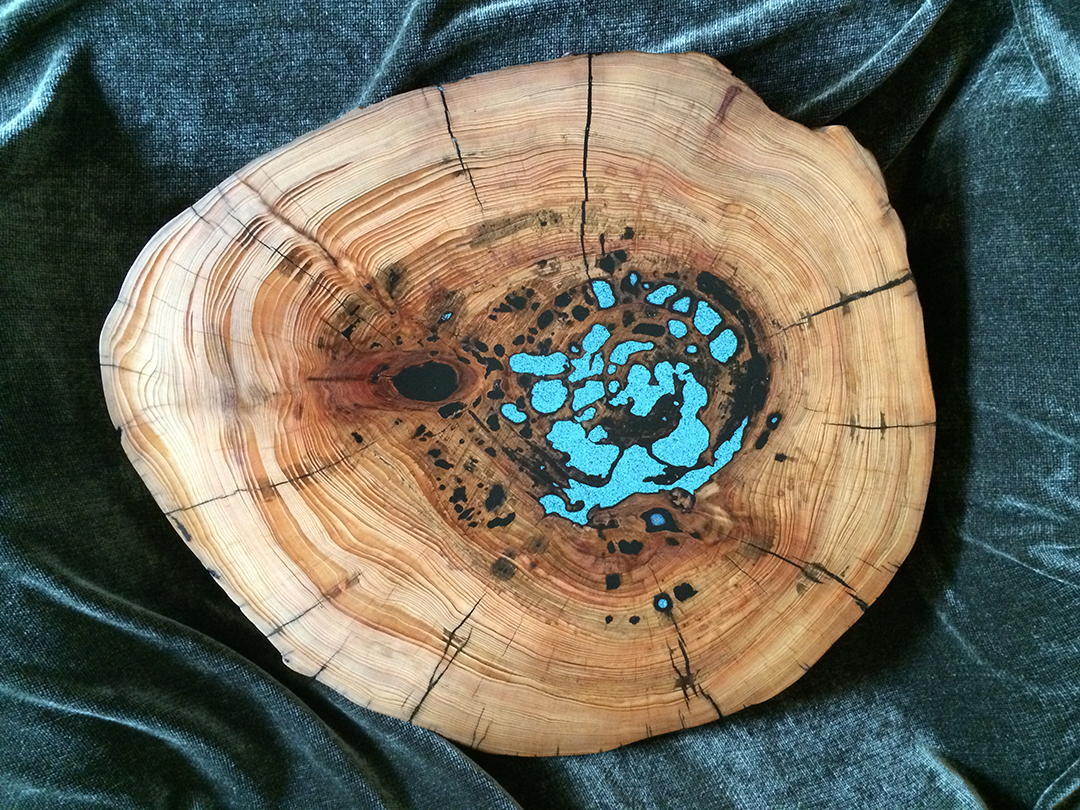 Cypress Lazy Susan with inlaid turquoise resin