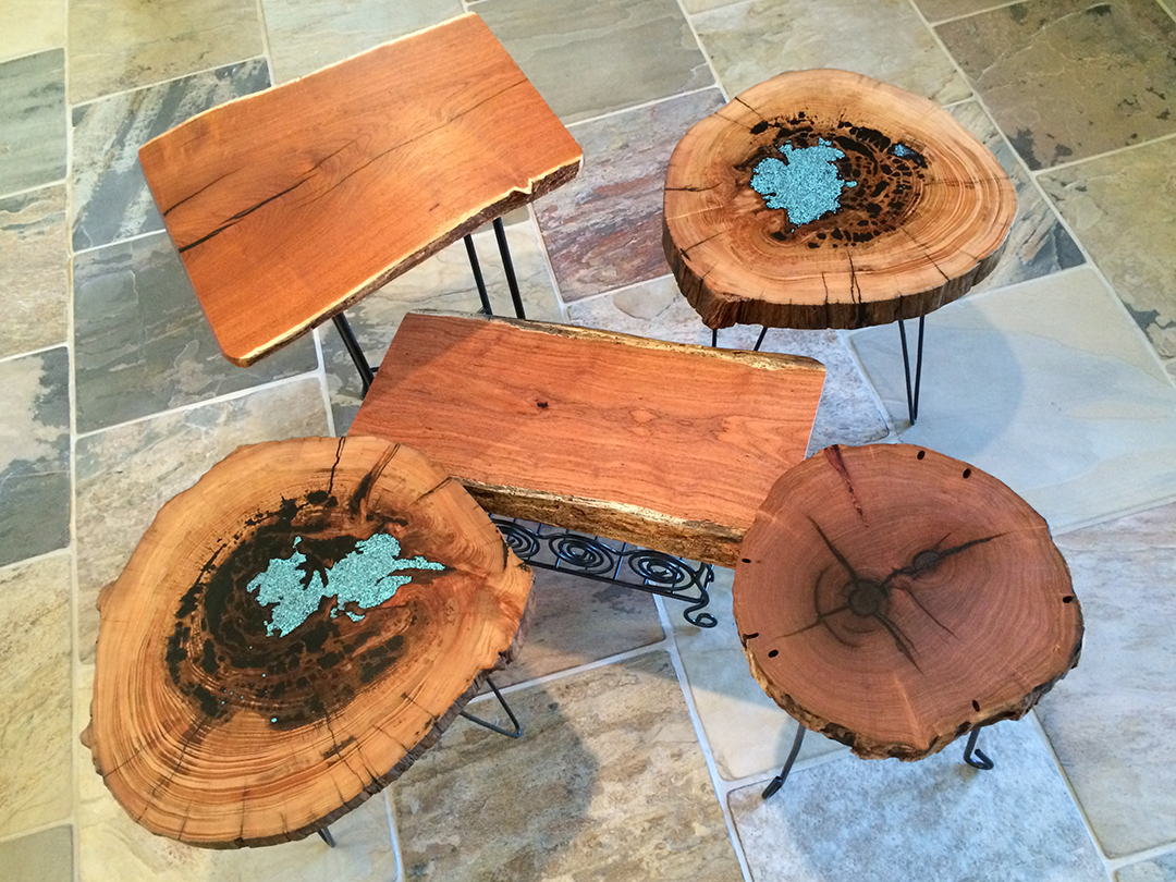 assorted small wood and metal side and end tables