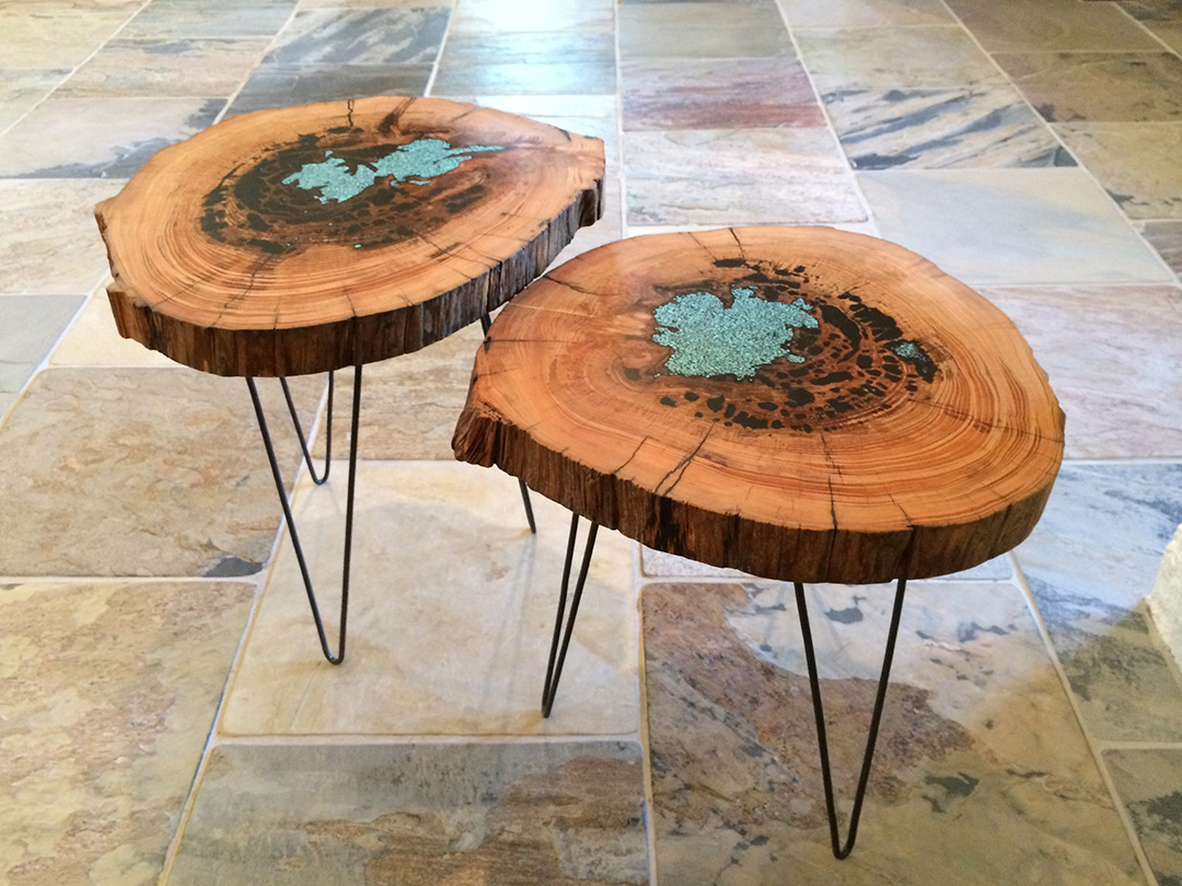 pair of side tables with Pithy Cypress wood top and hairpin legs