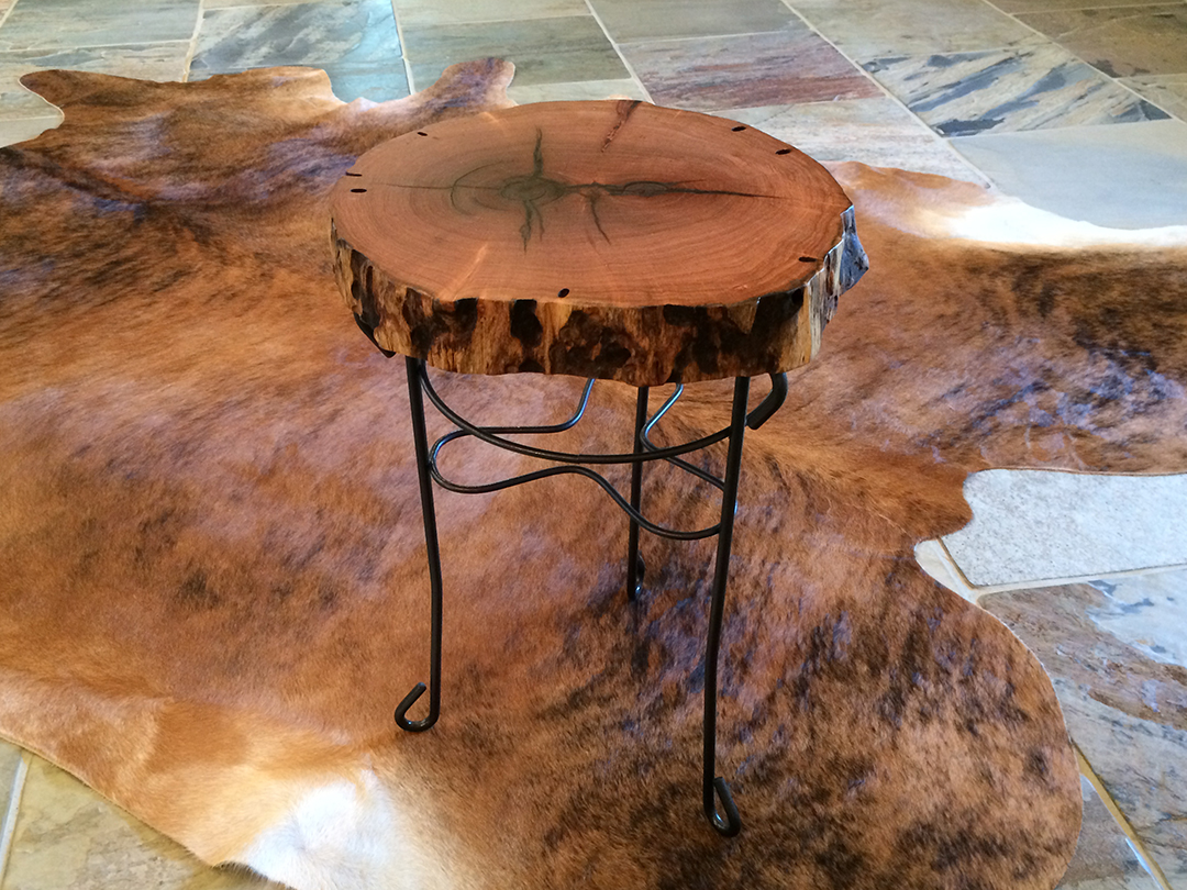 small round Mesquite side table with repurposed metal base