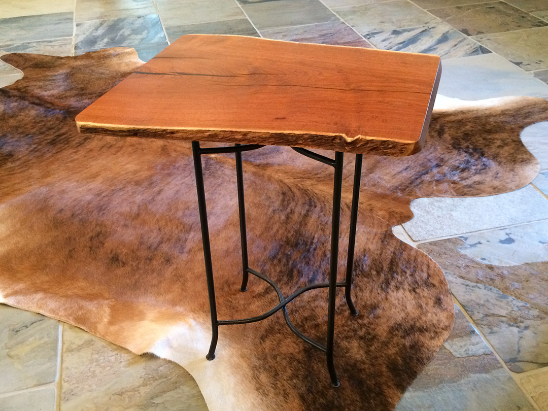 square Mesquite top end table with repurposed metal base