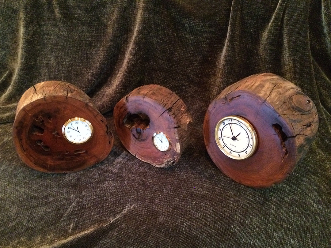 Three cherry desk clocks