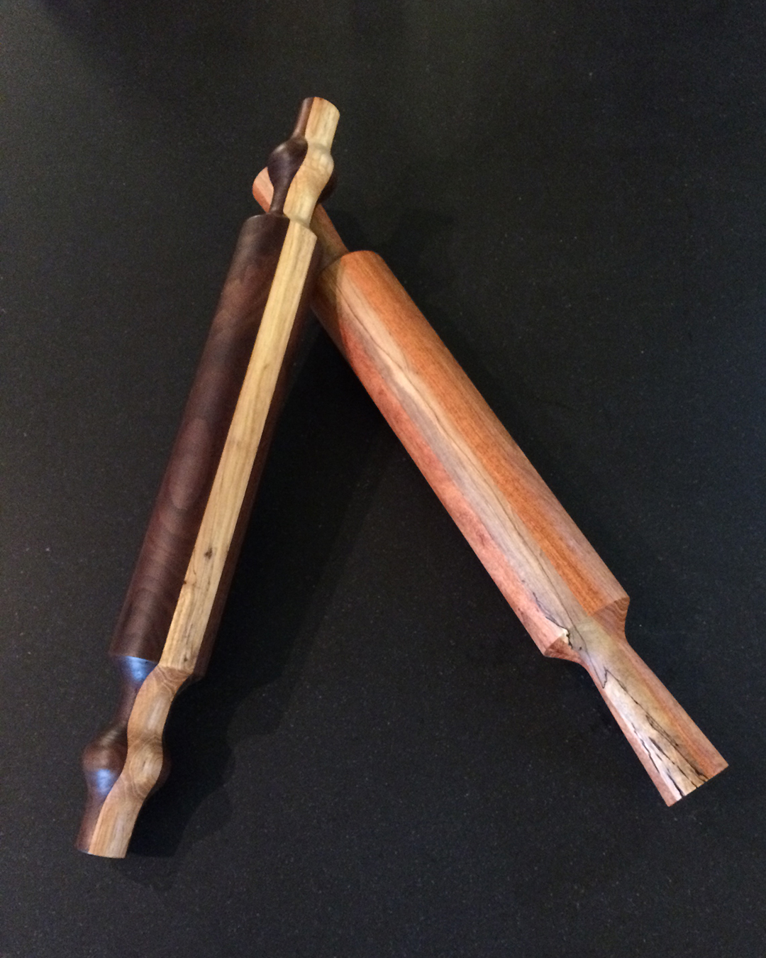 Walnut and Pecan and Mesquite and Pecan laminated wood rolling pins