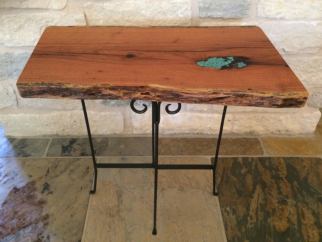 Mesquite wood side table with live edge and turquoise inlay on repurposed base