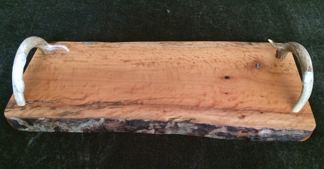 antler handle mesquite wood serving tray with live edge and turquoise fill