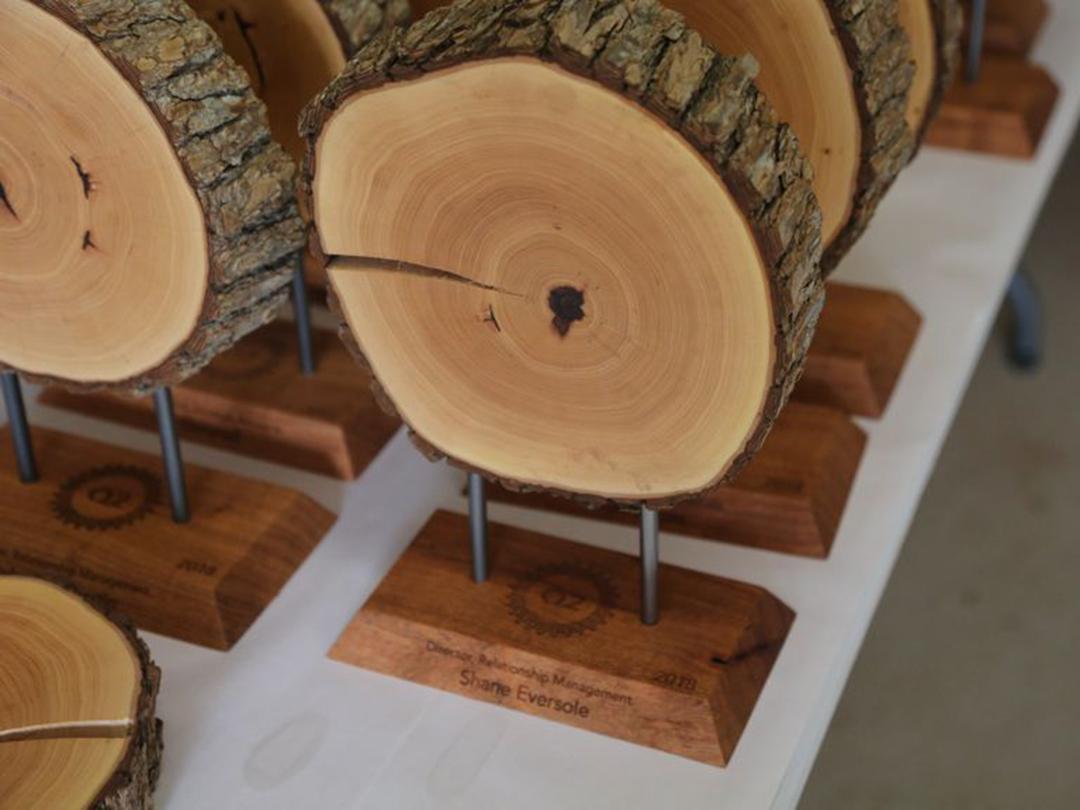 closeup of custom wood company award