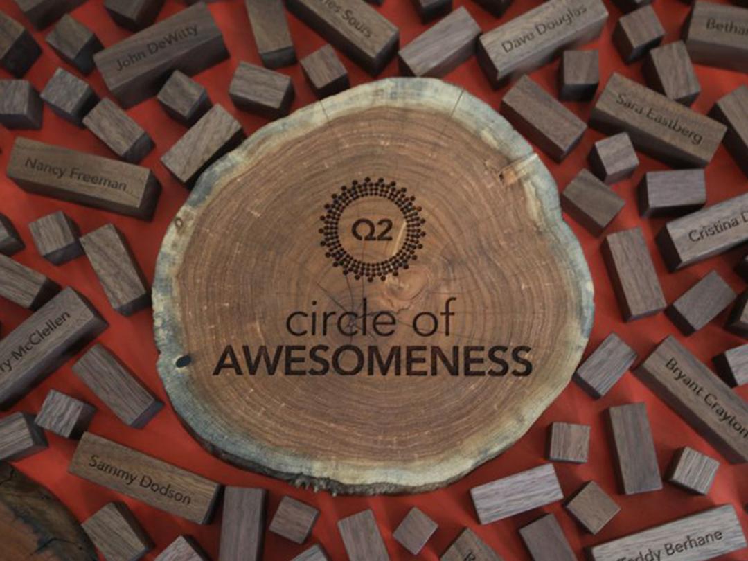 closeup of custom wood regional performance award