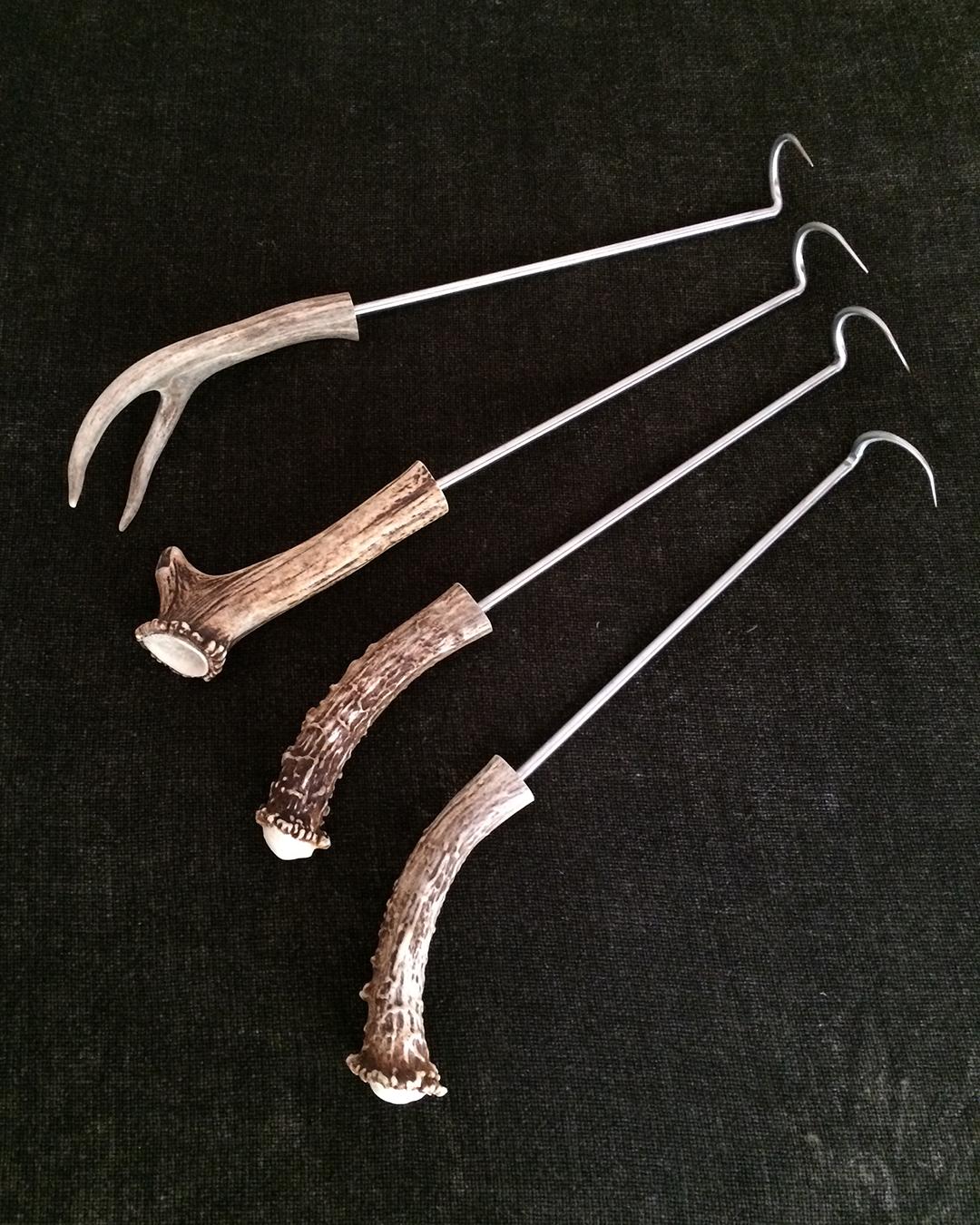 pig turners featuring responsibly harvested deer antler handles