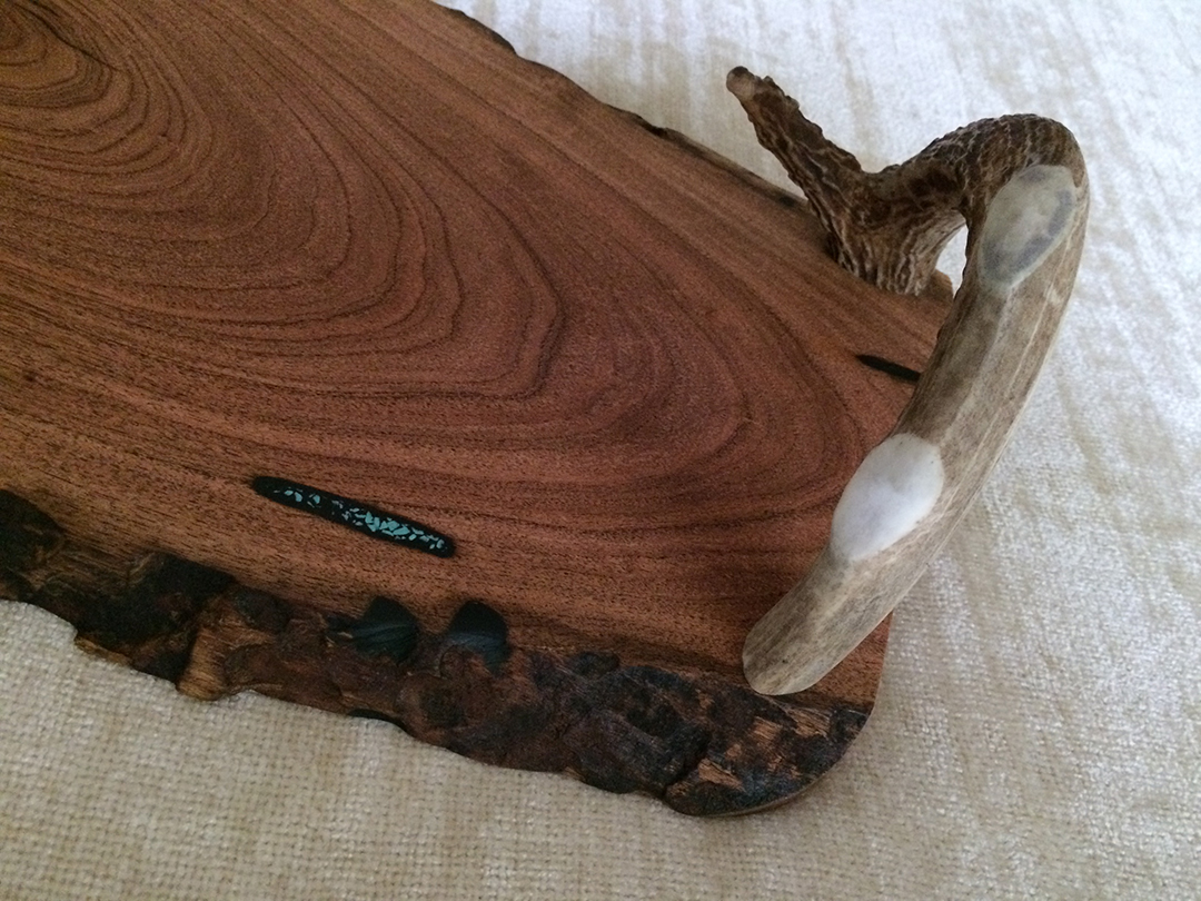 responsibly harvested deer antler tray detail