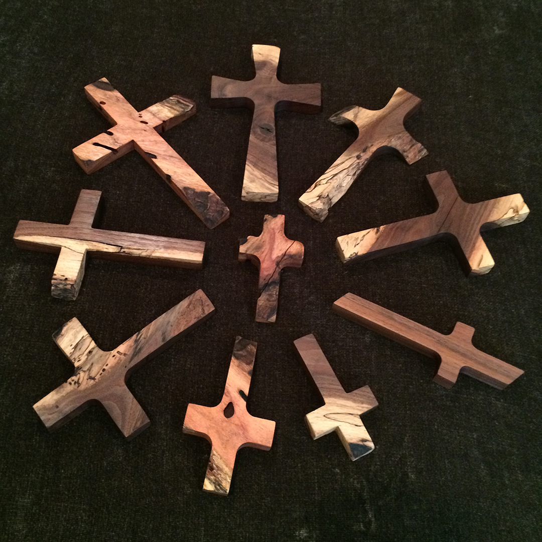 various sizes of mesquite wood crosses