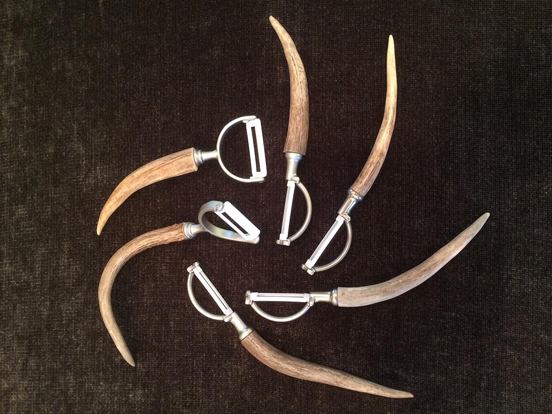 vegetable peelers featuring responsibly harvested deer antler handles